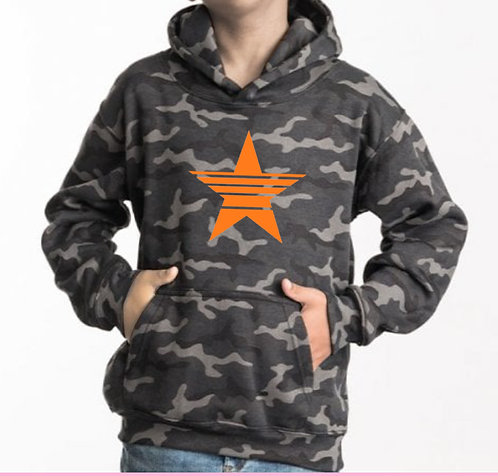 Kids Camo Strikethrough Star Hoodie