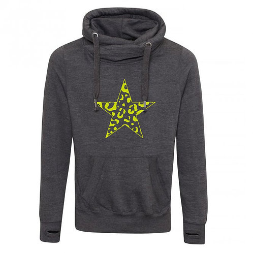 Leopard Star Cowl Neck Hoodie Charcoal
