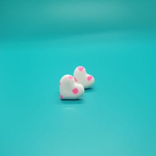 Pink Dotty Love Heart studs