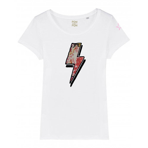 Womens Lightweight Floral Bolt Tee White