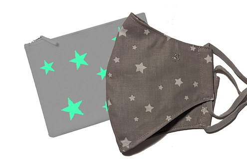 'Stars' Cotton Canvas Face Mask Pouch WITH Face Mask