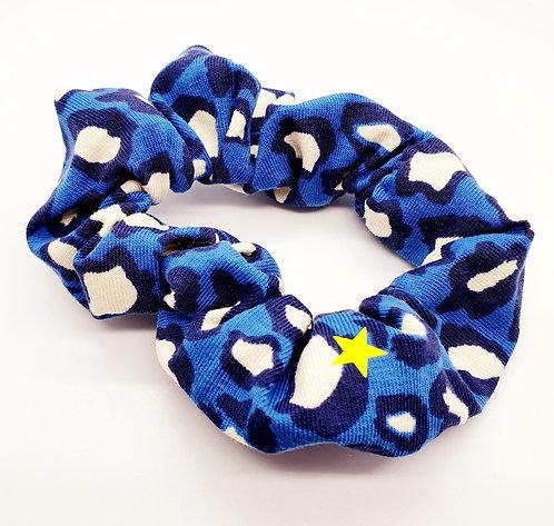 Blue Leopard Print Hair Scrunchie