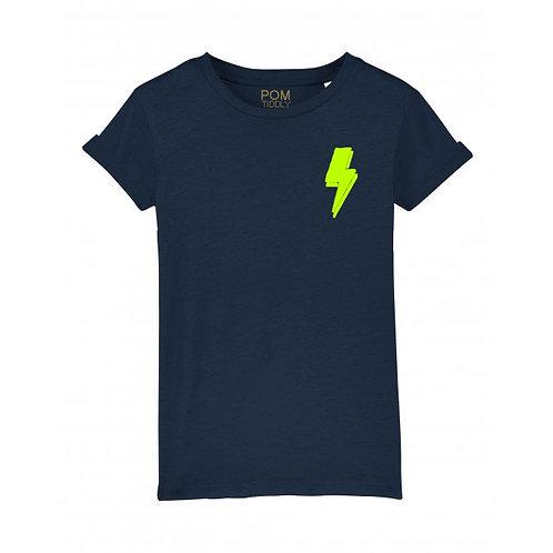 Womens Lightning Bolt Tee (small left chest) Navy