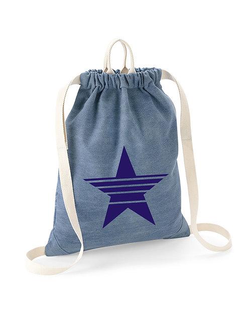 Star Denim Drawstring Bag