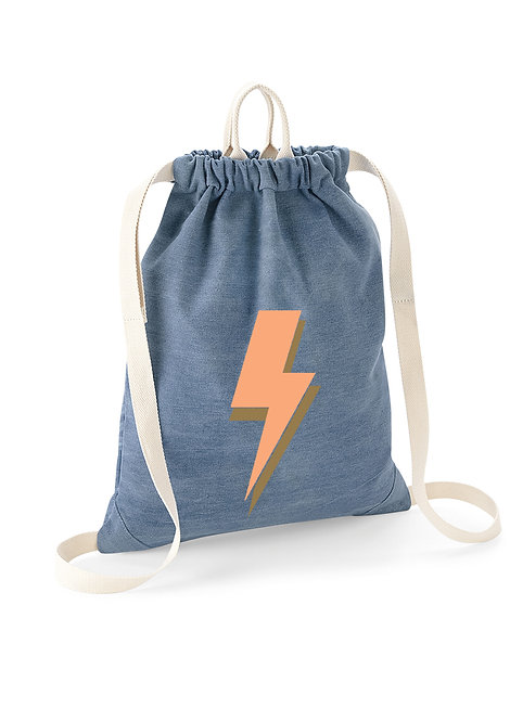 Lightning Bolt Denim Drawstring Bag