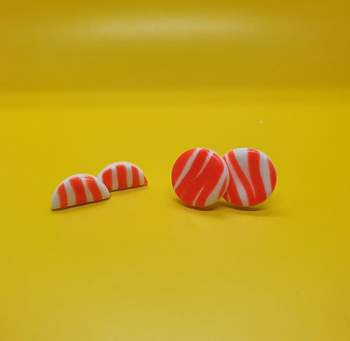Orange Candy Stripe studs