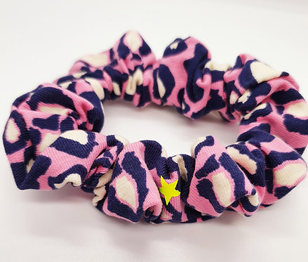 Pink Leopard Print Hair Scrunchie