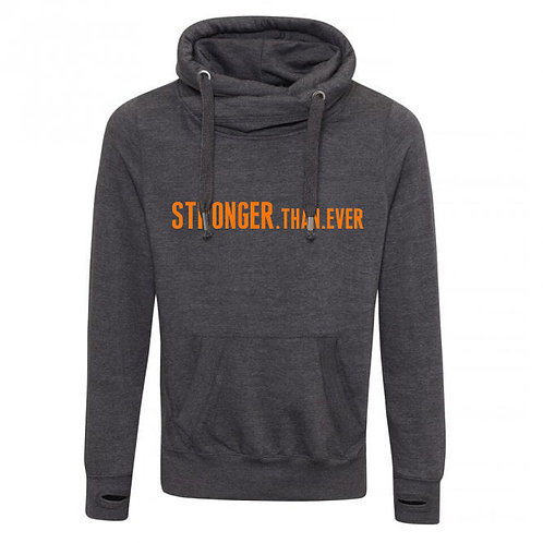 Stronger Than Ever Cowl Neck Hoodie Charcoal