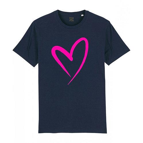 Adult Heart Neon Pink Tee Navy