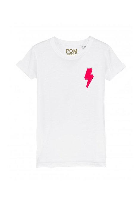 Kids Lightning Bolt Tee (small left chest) White