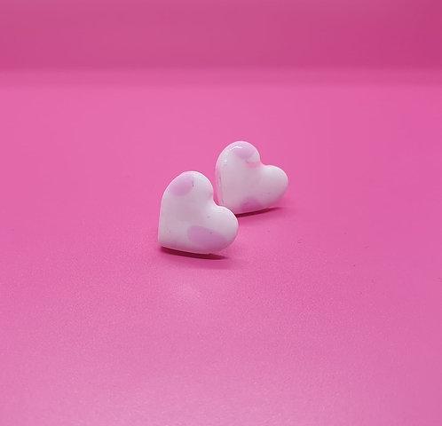 Pale Pink Dotty Love Heart studs