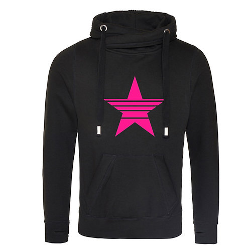 Strikethrough Star Cowl Neck Hoodie Black