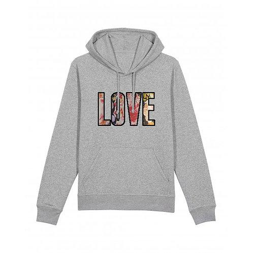 Love Floral Hoodie Grey