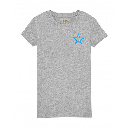Kids Neon Blue Mini Star Tee Grey