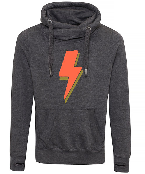 Lightning Bolt Cowl Neck Hoodie Charcoal