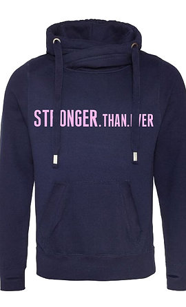 Stronger Than Ever Cowl Neck Hoodie Navy