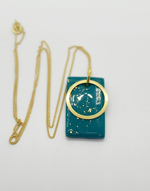 Emerald and Gold Oblong Pendant Necklace