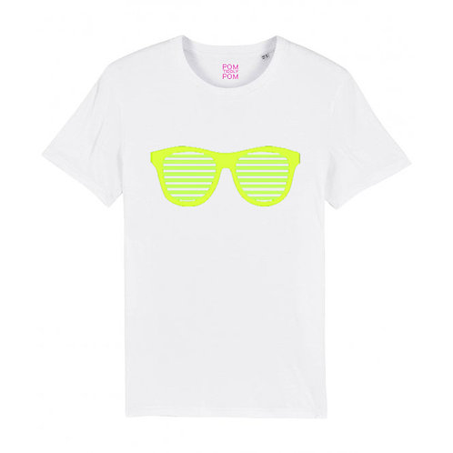 Adult Retro Sunglasses Neon Yellow Tee