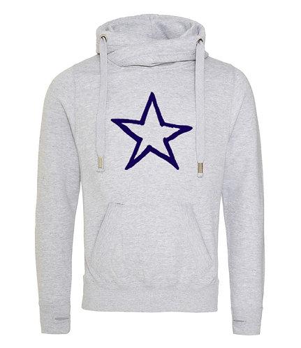 Adult Star Cowl Neck Hoodie Grey