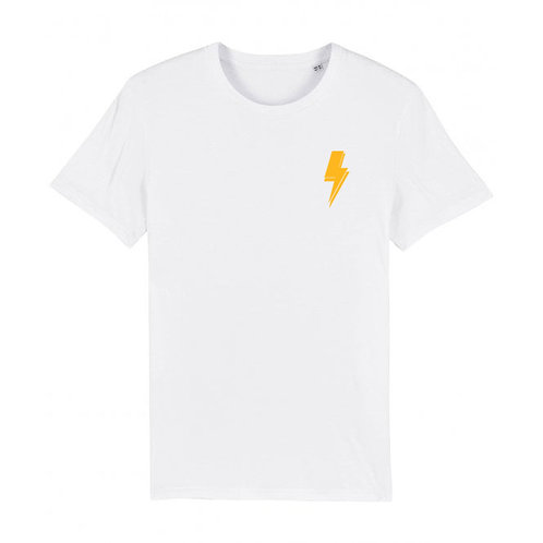 Mens Lightning Bolt Tee (chest decal) White