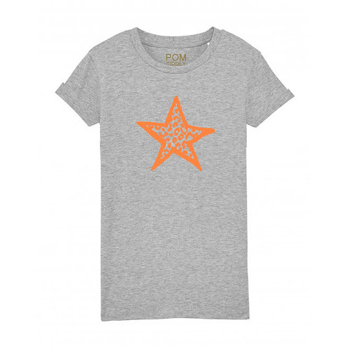 Kids Leopard Star Tee Grey