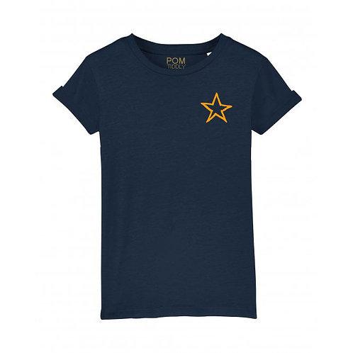 Kids Neon Orange Mini Star Tee Navy