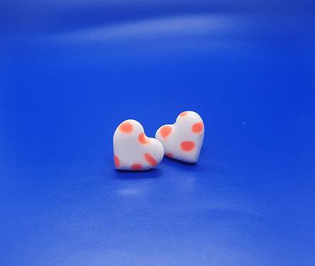 Orange Dotty Love Heart studs