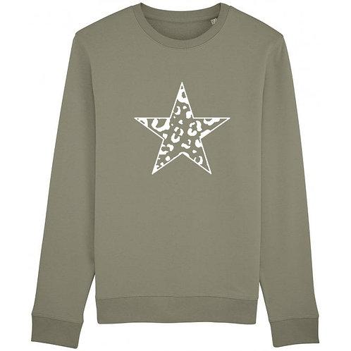 Leopard Star Sweatshirt Khaki