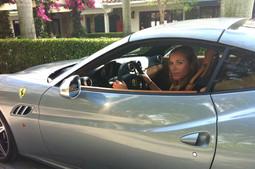 Lea with Ferrari at Palm Beach