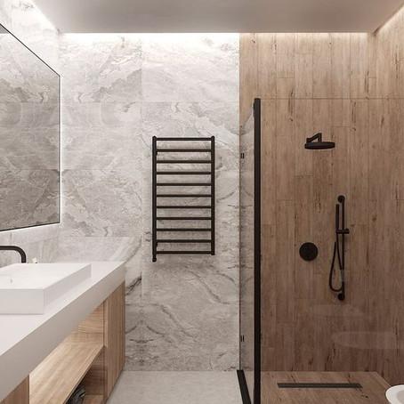 Badkamers met zwarte accenten