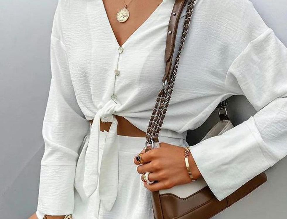 Long Sleeve Shirt & Pocket Design Shorts