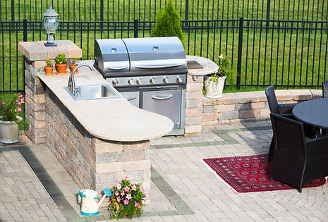 Outdoor Kitchen, barbecue, and entertainment center