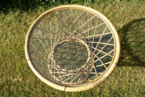 SOLD -Bamboo round table glass top