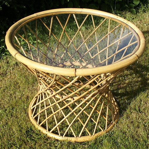 Bamboo round table glass top