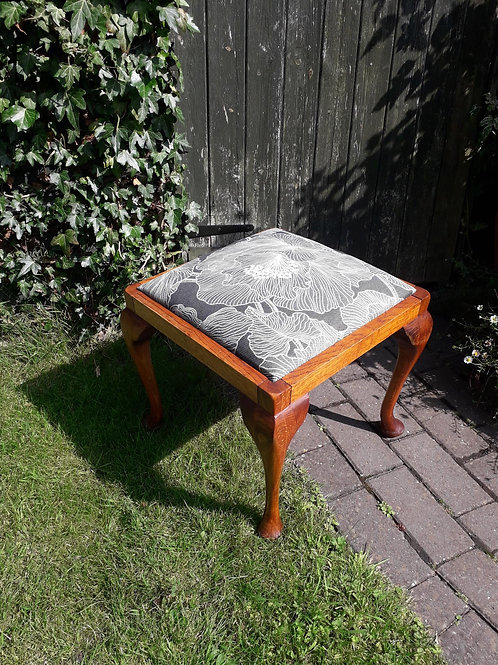 NOW SOLD- Cabriole leg stool re-upholstered
