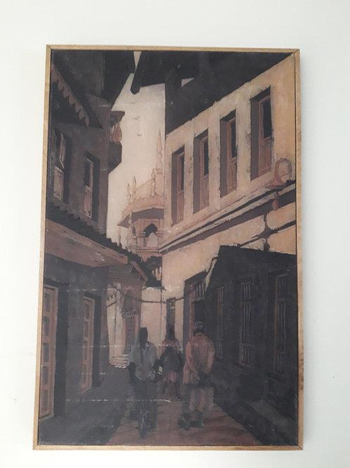 Dark eastern painting- encaustic Art