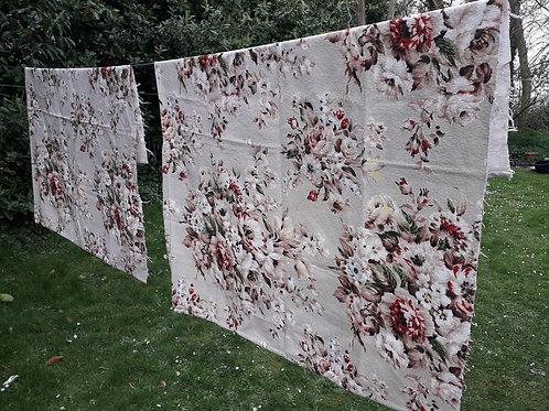 BARKCLOTH  Foral fabric small curtains