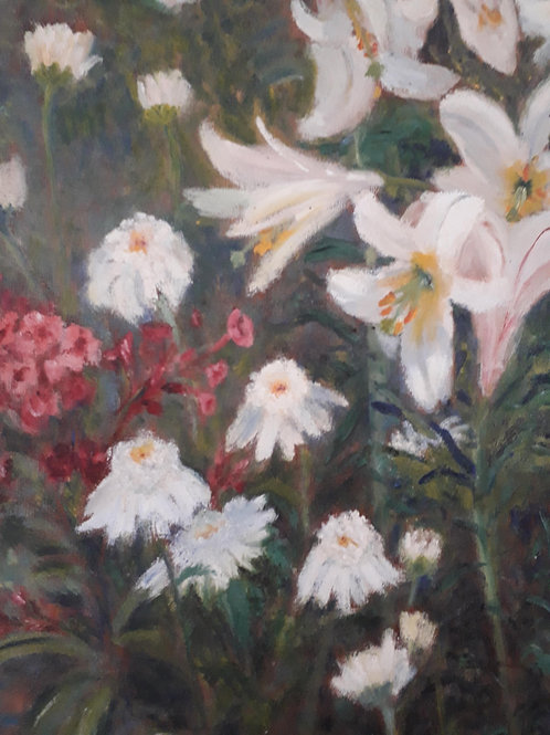 White lily flowers- oil on board painting
