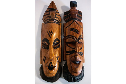 SALE- African pair of carved tribal decorative wall masks