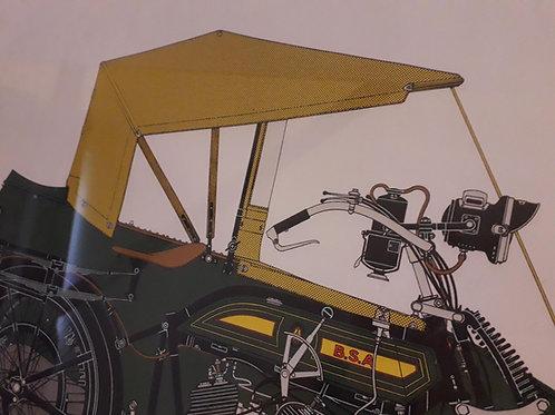 """PRINT -  """"BSA MOTORCYCLE  & side car 1922."""""""