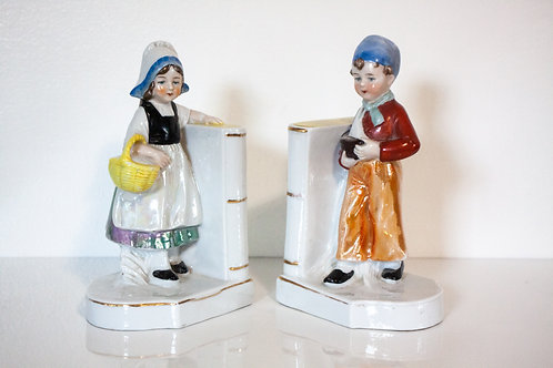 Dutch pair of porcelain book ends