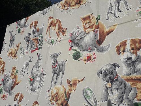 RARE  barkcloth animal print -40s/50