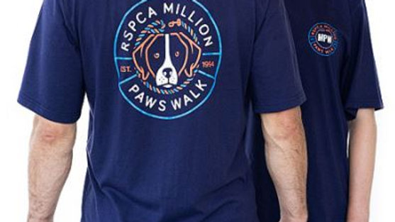 RSPCA Million Paws Walk Dog Unisex Navy Tee