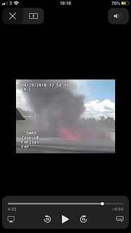 Trooper car on fire