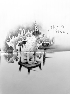 'This is Fine' Series, graphite on paper, assorted sizes, 2021.