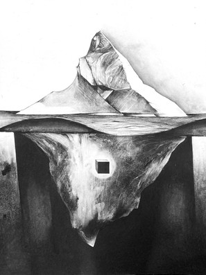 'Pandora's Box', 2021, charcoal and graphite, 42 x 35 in.