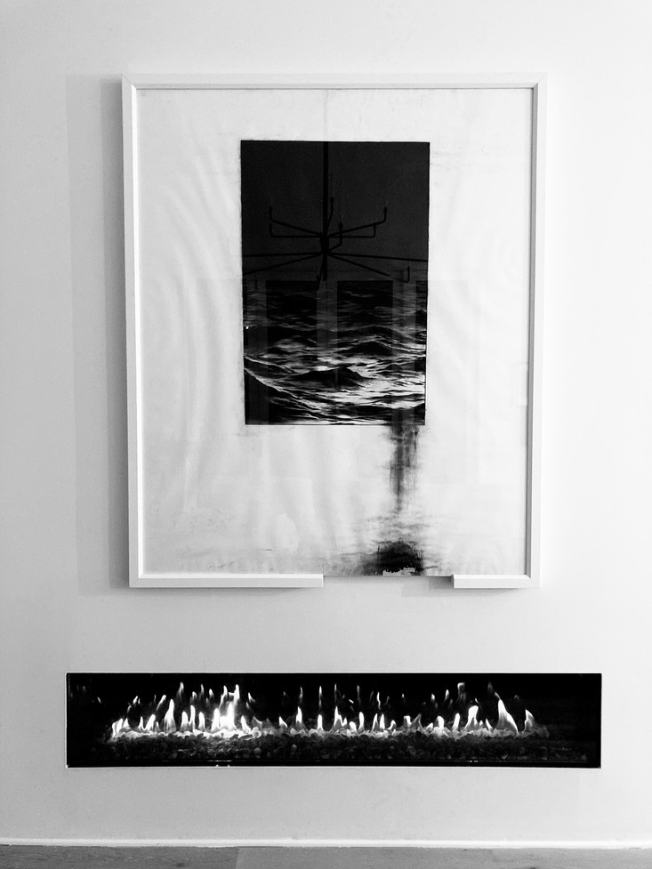 'A charcoal drawing of the Mediterranean Sea', 56 x 69 in., 2019.