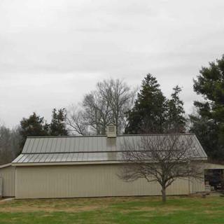 Steel standing seam metal roof. Overview. 24 gauge steel, double lock seams.