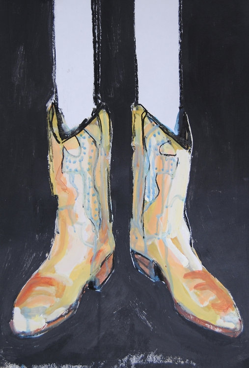 Lizbeth Holstein, Gold Boots on black
