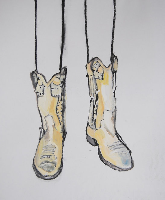 Lizbeth Holstein, Gold boots on white
